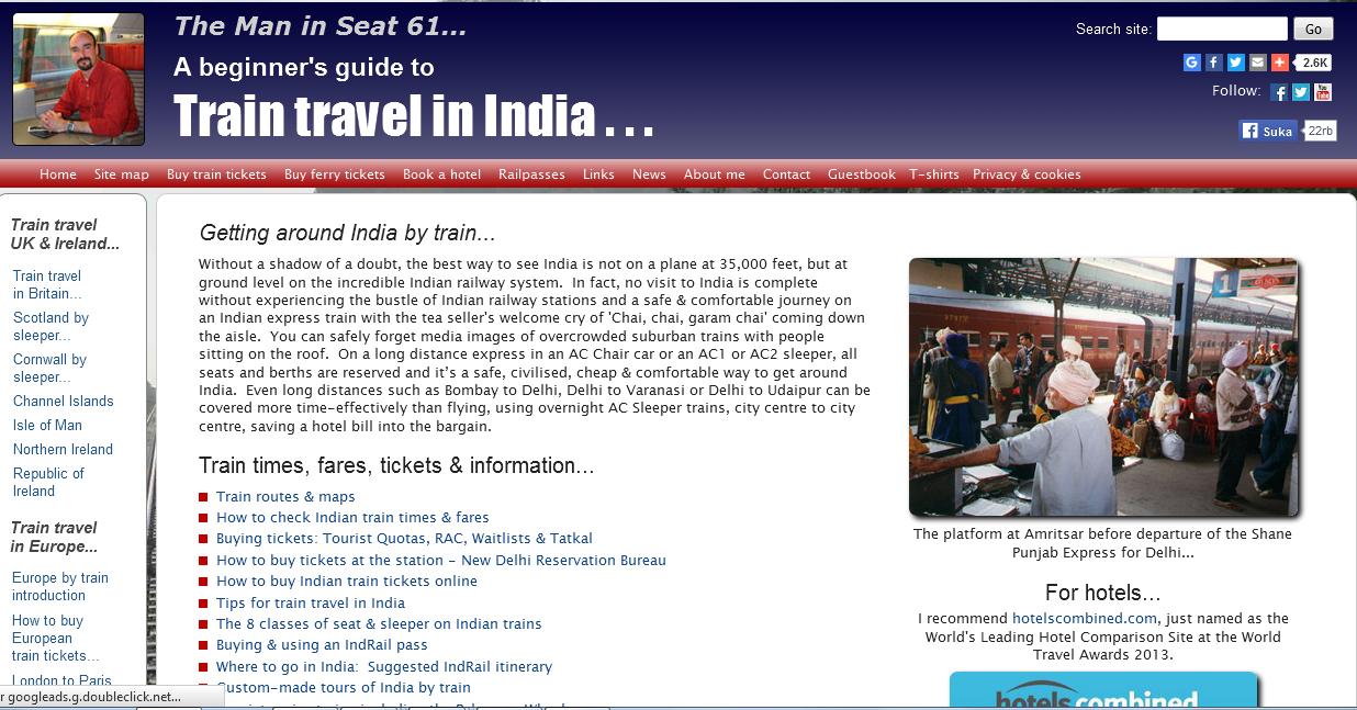 seat 61, Situs Penting untuk Booking Hotel dan Pesawat